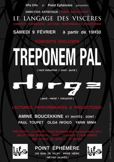 9 Fev TREPONEM PAL + DIRGE @ Point Ephémère (Paris) FlyerTP_PointEphemereWEB