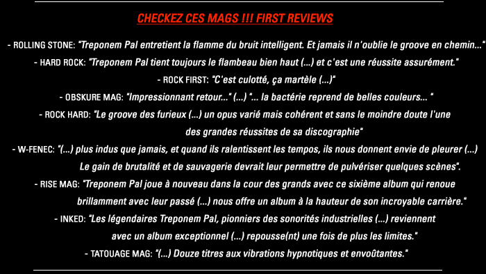 First Press Reviews / Premières chroniques / SURVIVAL SOUNDShttp://treponempal.com/Survival-Sounds,91